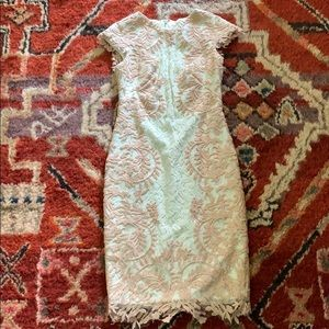 Tadashi Shoji blush and white lace dress